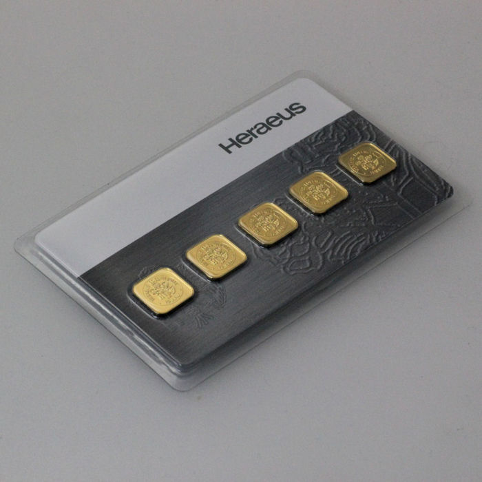 Heraeus 999 gold fine gold multi card 5 x 1 gram with certificate and serial number
