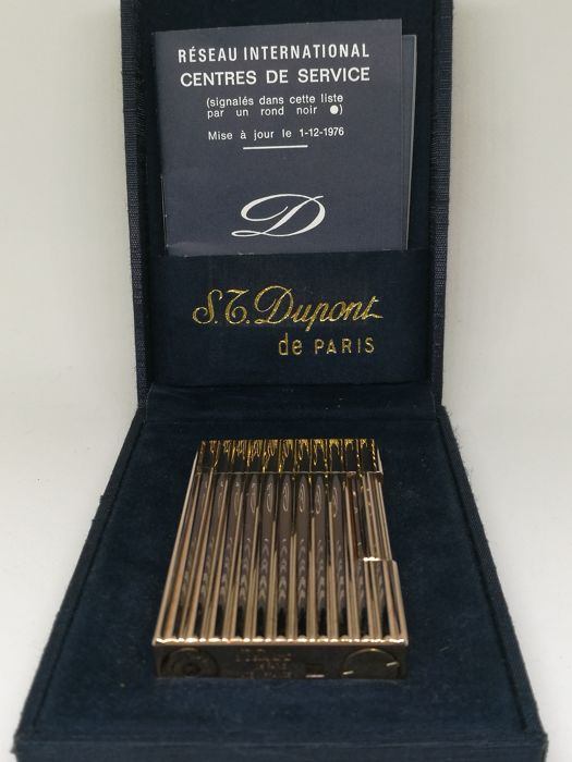 S.T. lighter.  Paris Dupont - 20u gold plated  - 1976 -  Box and papers