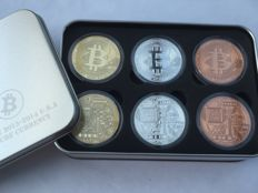 USA - Bitcoin - Coinbox - 6 Bitcoin medals - 2 x 1 oz 999 Copper - 2 x 1 oz 24 carat gold plated - 2 x 1 oz 999 new silver