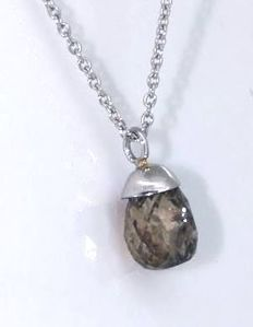 Pendant decorated by a  unique briolet cut diamond 1.60 ct ***No minimum price***