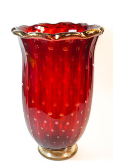 Imperio Rossi (Murano) - red and gold balloton vase