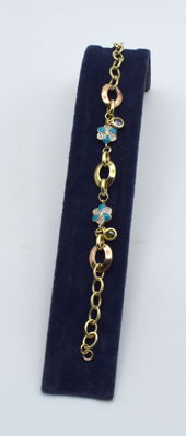 14k rose and yellow gold charm bracelet - 19.5 cm