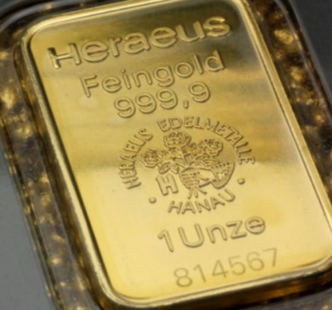 Germany - Heraeus 1 oz - 31.1 grams 999 gold/gold bars - in blister packaging - with certificate and serial number