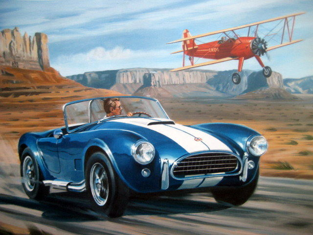 Fine Art Print -  AC Cobra, an outstanding race car is een here challenging a Boeing Stearman