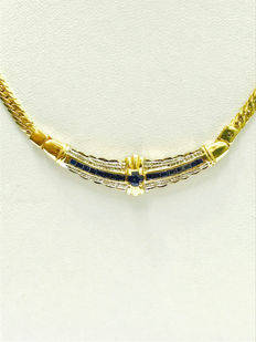 18 kt yellow gold necklace, diamonds and sapphire for a total of 0.83 ct