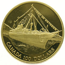 "Canada – 100 Dollars  1991  ""Ship SS"" – in capsule – Gold"