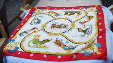"""Hermès - """"Plumes et grelots"""" (feathers and bells) scarf, designed by J. Abadie - 1995 - Excellent condition."""