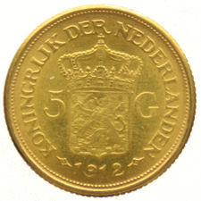 The Netherlands – 5 guilder coin 1912 (restrike) Wilhelmina – gold.
