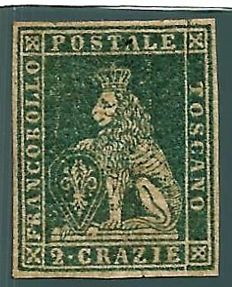 Tuscany, 1857 – Green/yellowish-grey – 2 crazie stamp – #13b.