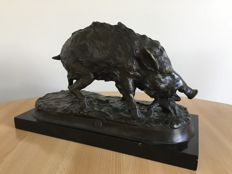 After Pierre Jules Mène - Bronze statue of a wild boar, second half of 20th century