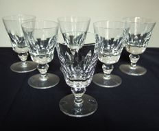 6 St Saint Louis wine glasses in cut crystal, Jersey model, France, circa 1960