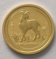 Australia - 5 dollars 2003 ' Year of the Goat' - 1/20 oz gold