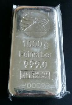 Switzerland - PIM - 1 kg / 1,000 grams 999 silver / silver bars - shrink-wrapped with serial number