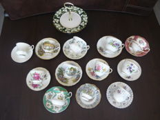13 Pieces of cups and saucers Royal Albert, Royal Stafford Elisabethan etc, Bone China England