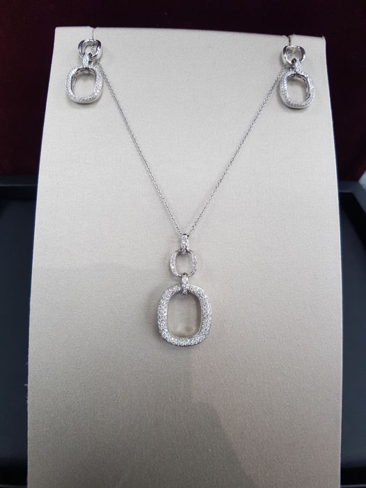 Damiani - Necklace and Earrings 18ct White Gold with Diamonds, Diamond Total Carat 1.59ct - Necklace and Pendant Length Approx. 54.5 cm - Earrings Length Approx. 3.5 cm