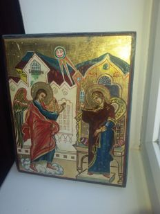 20th century ortodox russian icon of miracle phenomenon hand painted