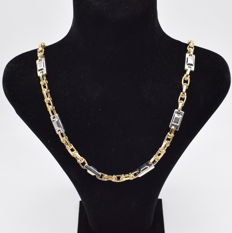 Perfectly designed  brand new , white and yellow charm  gold  14 carat necklace