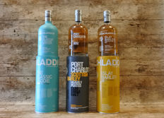 3 bottles - Bruichladdich: The Classic Laddie Scottish Barley - Port Charlotte Heavily Peated - Islay Barley Rockside Farm 2007