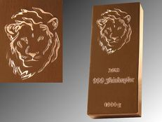 1000 g of copper ingot lion with Swarovski crystals + COA + limited edition