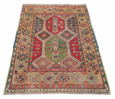 80 YEARS OLD Approximately ! Sevan Kazak Hand Knotted Area Carpet Rug 145 cm x 98 cm
