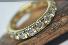 18 kt gold – 2.55 ct diamond Memory ring, never worn – ring size 53 (16.8 mm Ø).