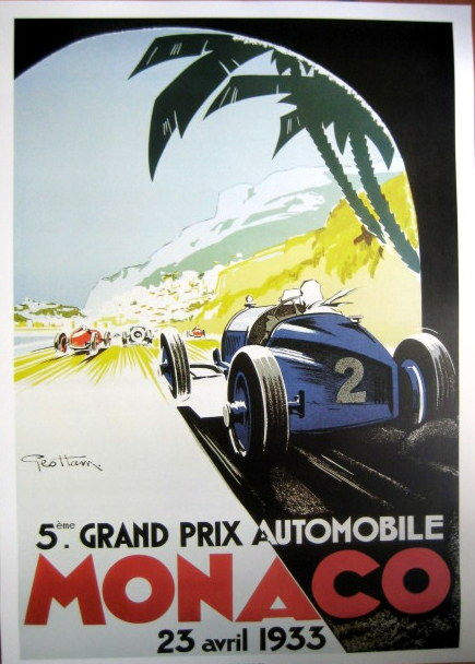 Decoratief object - Poster/Affice Grand Prix Monaco - Ontw. Geo Ham  - 1933 (1 items)
