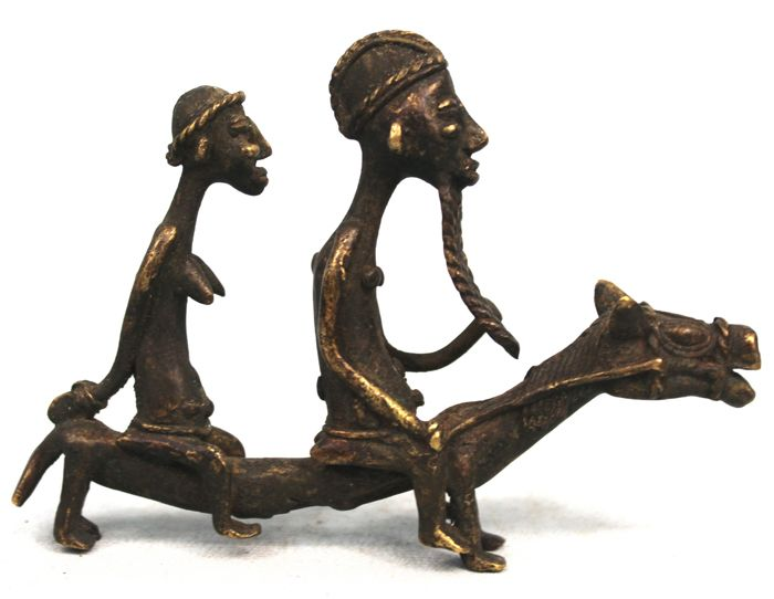 Couple of Bronze Horseriders - BAULE - Cote d'ivoire