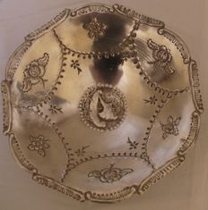 Unique Handmade Hand- Engraved Solid Silver Fruit Bowl. Greece. Second Half 20th Century