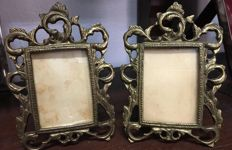 Pair of bronze photo frames, late 19th century