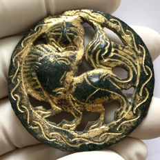 Avarian bronze Gold plated aplique- pendant with a Griffin / 47mm