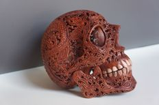 Hand carved Human skull, dragon pattern, teeth made from bone