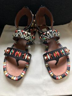 Valentino -  Hand Painted Thongs/Sandals in Nero - Spring Summer 2016 collection - New in Box - Sold Out - RRP €1000