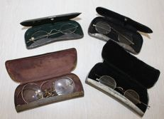 3 Antique spectacles in sheath, first half 20th century