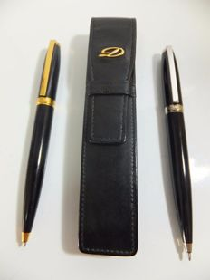 Set of 2 S.T. Dupont Olympio Ballpoint Pen - Black Lacquer/Gold & Black Lacquer/Palladium
