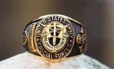 US - SPECIAL FORCES green beret - gold plated military ring - eind 20e eeuw