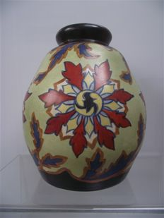 P. Jost - Hand-painted Art Deco pottery vase for Ceram