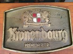Antique wooden sign - Kronenbourg Premium Beer - 1970