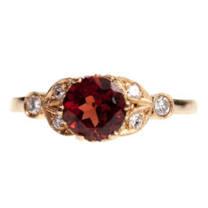 Diamond, Garnet, Gold Ring