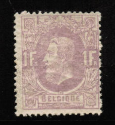Belgium - Leopold II, Issue from 1869 - 1 Franc mauve - COB 36 with certificate