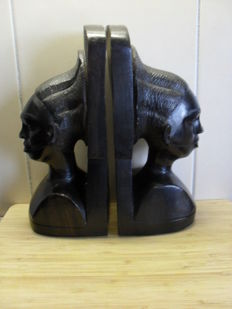 Ebony busts (bookends), height 25 cm - 20th century