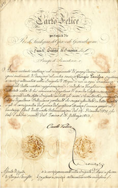 Charles Felix - Signed decree for appointment as Captain - 1821