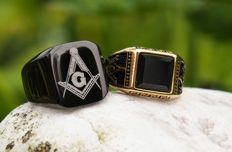 Stainless Steel Free Mason Masonic Rings (2) - with black Agate
