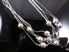Ladies 925 silver ball necklace - 45 cm