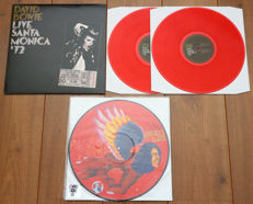 David Bowie- lot of 2 limited edition lp's: Live Santa Monica '72 2lp (on red wax!) & The Man Who Sold The World picture disc lp (Record Store Day 2016 release, limited to 5000 copies!)