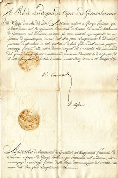 Victor Emmanuel - signed decree for appointment as second lieutenant - 1815