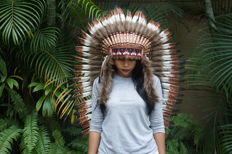 Long Native American Headdress made with feather, very decorative.