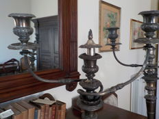Pair of silver plated three-flame candelabra
