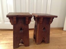 2 oak monastery stools - Spain - ca. 1870