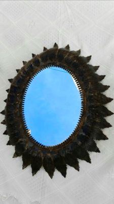 Antique oval sun mirror, from the 1950s-1960s