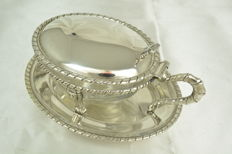 Parmesan server, Silver plated bronze and cut crystal, Italy